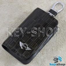 Ключница карманная (кожаная, коричневая, с тиснением, на молнии, с карабином, с кольцом), логотип авто Mini (Мини)