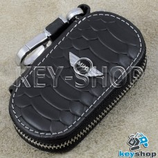 Ключница карманная (кожаная, черная, с тиснением, на молнии, с карабином, с кольцом), логотип авто Mini (Мини)