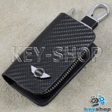 Ключница карманная (кожаная, черная, с тиснением под карбон, на молнии, с карабином, c кольцом), логотип авто Mini (Мини)