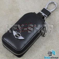 Ключница карманная (кожаная, черная, с карабином, на молнии, с кольцом), логотип авто Mini (Мини)