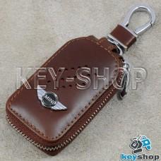 Ключница карманная (кожаная, коричневая, с карабином, на молнии, с кольцом), логотип авто Mini (Мини)