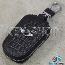 Ключница карманная (кожаная, черная, с тиснением, с карабином, на молнии, с кольцом), логотип авто Mini (Мини)