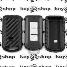Чехол (силиконовый, под карбон) для смарт ключа Mitsubishi (Митсубиси)