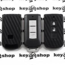 Чехол (силиконовый, под карбон) для смарт ключа Mitsubishi (Митсубиси) 3 кнопки