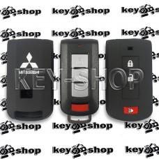 Чехол (силиконовый) для смарт ключа Mitsubishi (Митсубиси) 2 + 1 кнопки (черный)