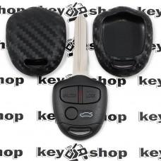 Чехол (силиконовый, под карбон) для авто ключа Mitsubishi (Митсубиси)