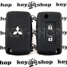 Чехол (черный, силиконовый) для выкидного ключа Mitsubishi (Митсубиси) 2 кнопки