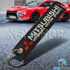 Брелок для ключа Mitsubishi (Митсубиси), черный, с кольцом (текстиль)