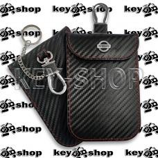 Чехол Фарадея, антисканер, противоугонный чехол Nissan (Ниссан) (кожаный, под карбон, черный, на липучке, с карабином, с кольцом)