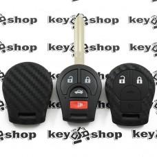 Чехол (силиконовый, под карбон) для авто ключа Nissan (Ниссан) 3 + 1 кнопки