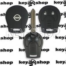 Чехол (силиконовый) для авто ключа Nissan (Ниссан) 2 кнопки (черный)