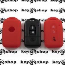 Чехол (красный, силиконовый) для смарт ключа Nissan (Ниссан) 3 кнопки