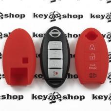 Чехол (красный, силиконовый) для смарт ключа Nissan (Ниссан), 4 кнопки