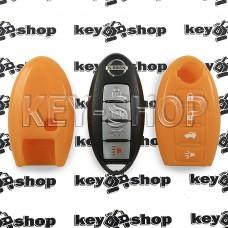 Чехол (силиконовый, оранжевый) для смарт ключа Nissan (Ниссан) 3 + 1 кнопки