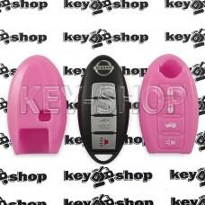Чехол (силиконовый, розовый) для смарт ключа Nissan (Ниссан) 3 + 1 кнопки
