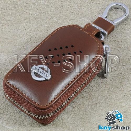 Ключница карманная (кожаная, коричневая, с карабином, на молнии, с кольцом), логотип авто Nissan (Ниссан)