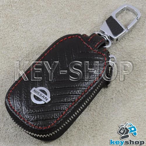 Ключница карманная (кожаная, черная, с тиснением, с карабином, на молнии, с кольцом), логотип авто Nissan (Ниссан)