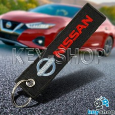 Брелок для ключа Nissan (Ниссан), черный, с кольцом (текстиль)