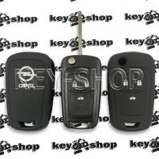 Чехол (черный, силиконовый) для выкидного ключа Opel Insignia (Опель Инсигния) 3 кнопки