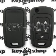 Чехол (черный, силиконовый) для выкидного ключа Opel Amper (Опель Ампера) 4+1 кнопки