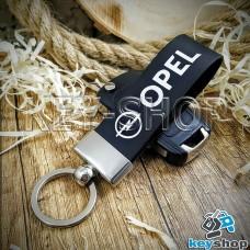 Брелок для авто ключей Опель (Opel) кожаный (черный, широкий) с хромированной фурнитурой
