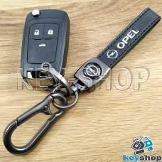 Брелок ключа Opel (Опель) кожаный (черный) с карабином