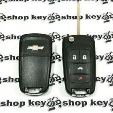 Оригинальный выкидной ключ для Chevrolet Cruze, Camaro, Corvette (Шевролет) 3 + 1 кнопки, чип id46/315MHz