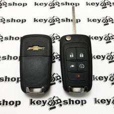 Оригинальный выкидной ключ для Chevrolet Volt (Шевролет Вольт) 4 + 1 кнопки, чип id46/315MHz, (keyless)