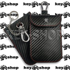 Чехол Фарадея, антисканер, противоугонный чехол Peugeot (Пежо) (кожаный, под карбон, черный, на липучке, с карабином, с кольцом)