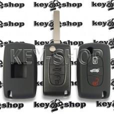 Чехол (черный, силиконовый) для авто ключа Peugeot (Пежо) 3 кнопки