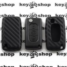 Чехол (силиконовый, под карбон) для выкидного ключа Peugeot (Пежо) 3 кнопки