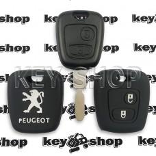 Чехол (черный, силиконовый) для авто ключа Peugeot (Пежо) 2 кнопки