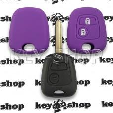 Чехол (силиконовый) для авто ключа Peugeot (Пежо) 2 кнопки (фиолетовый)