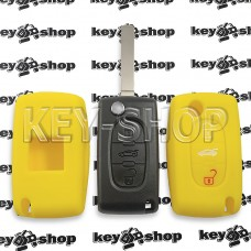 Чехол (желтый, силиконовый) для выкидного ключа Peugeot (Пежо) 3 кнопки