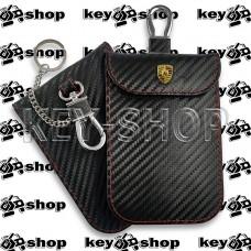 Чехол Фарадея, антисканер, противоугонный чехол Porsche (Порше) (кожаный, под карбон, черный, на липучке, с карабином, с кольцом)