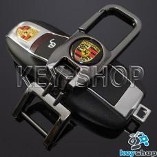 Брелок для ключа Порше (Porsche), (темный хром), с карабином