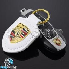 Кожаный (белый) брелок для авто ключей Porshe (Порше)