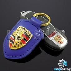 Кожаный (синий) брелок для авто ключей Porshe (Порше)
