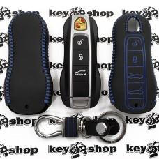 Кожаный чехол (с синей строчкой), для смарт ключа  Porsche (Порше) 4 кнопки