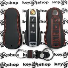 Кожаный чехол (с красной строчкой), для смарт ключа Porsche (Порше) 4 кнопки