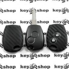 Чехол (силиконовый, под карбон) для авто ключа RENAULT (Рено) 2 кнопки