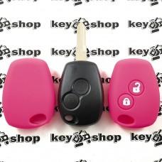 Чехол (розовый, силиконовый) для авто ключа RENAULT (Рено) 2 кнопки