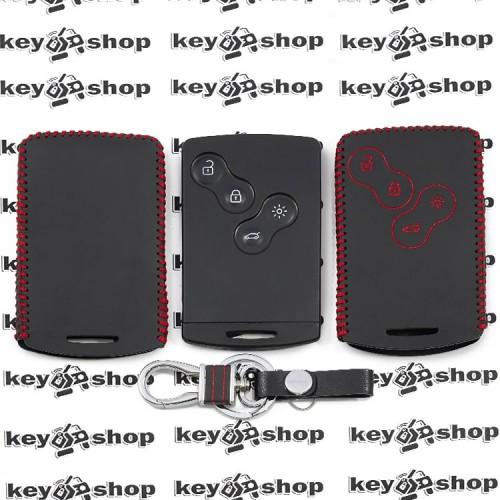 Кожаный чехол (с красной строчкой), для смарт карты RENAULT (Рено) 4 кнопки