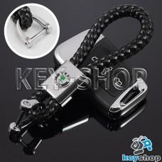 Кожаный плетеный (черный) брелок для авто ключей Шкода (Skoda)