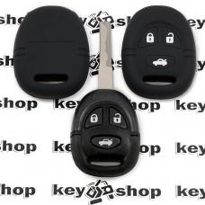 Чехол (черный, силиконовый) для авто ключа Saab (Сааб) 3 кнопки