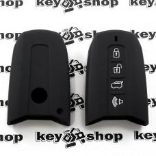 Чехол (черный, силиконовый) для смарт ключа SsangYong (СсангЙонг) 3 + 1 кнопки