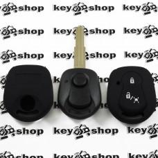 Чехол (черный, силиконовый) для автоключа SsangYong (СсангЙонг) 3 кнопки