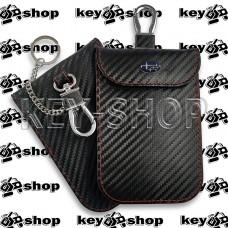 Чехол Фарадея, антисканер, противоугонный чехол Subaru (Субару) (кожаный, под карбон, черный, на липучке, с карабином, с кольцом)