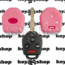 Чехол силиконовый авто ключа Subaru (Субару) (розовый) 3 + 1 кнопки
