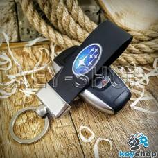 Брелок для авто ключей Субару (Subaru) Кожаный (черный, широкий) с хромированным кольцом